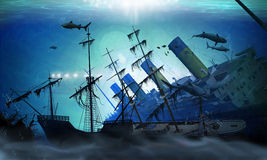 Ubåtgåtor stock illustrationer