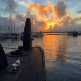 Ubåtsolnedgång Arkivfoton