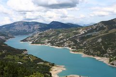 Ubaye River, Hautes-Alpes, France. The Ubaye river rises at the Col de Longet, in the Cottian Alps in southeastern France on the border with Italy. It flows stock photos