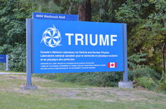 UBC Triumf Laboratory. The entrance to TRIUMF, a laboratory for particle and nuclear physics and accelerator-based science at the University of BC in Vancouver Royalty Free Stock Photo