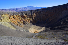 Ubehebe Volcano. Fragment of black lava and ornage clay and salt mineral deposits in geological formations in Ubehebe Volcano, Death Valley National Park Stock Image