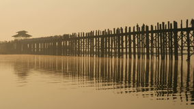 Ubein Bridge at sunrise, Mandalay, Myanmar stock footage
