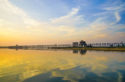 Ubein Bridge at sunrise, Mandalay, Myanmar Royalty Free Stock Photography