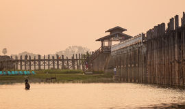 Ubein bridge at sunset in Myanmar Royalty Free Stock Image