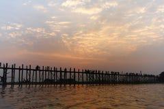 Uben Bridge. Ubein Bridge at sunrise in Mandalay, Myanmar stock photos