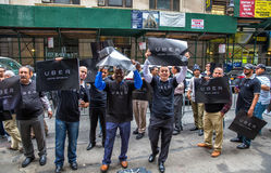 Uber司机抗议 图库摄影