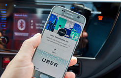 Uber application on Samsung S7. MONTREAL, CANADA - AUGUST 22, 2017 : Uber application on Samsung S7. Uber Technologies Inc. is an American technology company Stock Photos