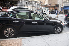 Uber Car. A black Uber car parking at a street in Manhattan ,NY stock photo
