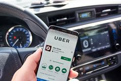 Uber Driver android app. MONTREAL, CANADA - AUGUST 8, 2018: Uber Driver android app on Samsung s8 screen in a hand stock images