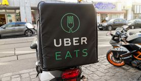 Uber eats. Bike, international food delivery company from the U.S, Vienna Austria April 14, 2018 royalty free stock images