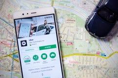 Uber logo na Huawei P9 obrazy stock