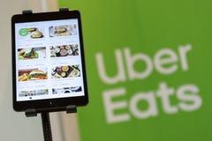Uber mange le menu d'appli image stock