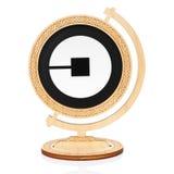 Uber okręgu ikona umieszczająca w drewnianą kulę ziemską Fotografia Stock