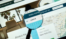 Uber online service. MONTREAL, CANADA - MARCH 25, 2016 - Uber online service under magnifying glass. Uber Technologies Inc. is an American multinational online stock photos