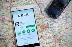 Uber partageant le service d'économie à Wroclaw photo libre de droits