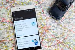 Uber som delar ekonomiservice i Wroclaw Arkivbild