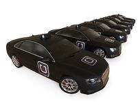 Uber taxi fleet in a row Royalty Free Stock Images
