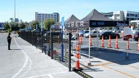 UBER taxi station, Las Vegas, USA,. LAS VEGAS, NV - APR 19: UBER taxi station on April 19, 2016 in Las Vegas, USA. Uber Technologies Inc. is an American stock video