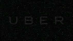 Uber Technologies Inc. logo made of flashing hexadecimal symbols on computer screen. Editorial 3D rendering. Uber Technologies Inc. logo made of flashing stock video footage