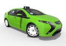 Uber zieleni samochodu pojęcie ilustracja wektor