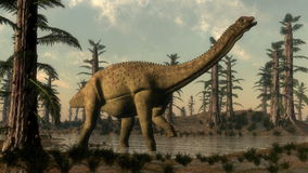 Uberabatitan dinosaur in the lake - 3D render Stock Photos