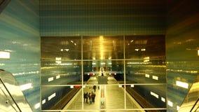 Uberseequartier underground train station, in Hamburg. HAMBURG, GERMANY: Uberseequartier underground train station, in Hamburg Speicherstadt and Hafencity stock footage