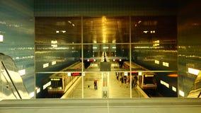 Uberseequartier underground train station, in Hamburg stock footage