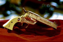 Uberti Patton Commemorative revolver CU. Factory engraved, silver plated Uberti Special Limited Collector's General George S. Patton Commemorative Edition, 4 3/4 Stock Image