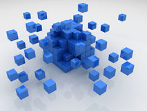 Blue Cubes. Cubes construction  3d model Stock Image