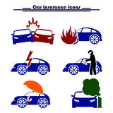Ubezpieczenia samochodu i ryzyka ikony Zdjęcia Stock