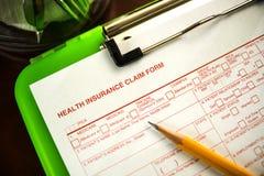 Ubezpieczenia Zdrowotnego żądania forma Zdjęcia Stock