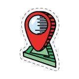ubicación de la navegación del mapa del indicador de la historieta ilustración del vector