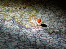 Ubicación de Luxemburgo fijada en el mapa de ruta Imagenes de archivo