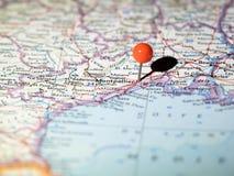 Ubicación de Montpellier fijada en el mapa de ruta Imagen de archivo libre de regalías