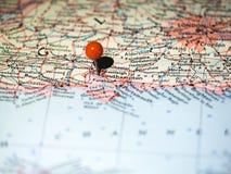 Ubicación de Southampton fijada en el mapa de ruta Imagenes de archivo