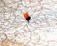 Ubicación de Toulouse fijada en el mapa de ruta Imagen de archivo libre de regalías