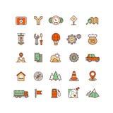 Ubicación e iconos planos del vector que viajan stock de ilustración