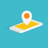 Ubicación Pin Icon del teléfono Visión isométrica Ejemplo de Smartphone Imagenes de archivo