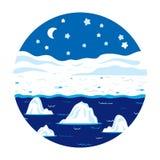 Ubicaciones del círculo, poco paisaje (noche polar del invierno) Foto de archivo