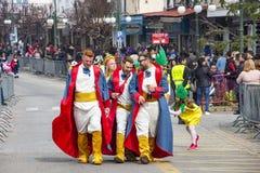 Ubierający karnawałowej parady uczestnicy w Xanthi, northeastern Grecja fotografia royalty free