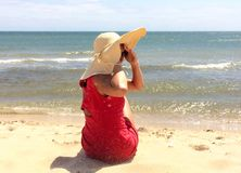 ubierająca czerwona kobieta obraz stock