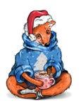 Ubierający lis z filiżanką kawy ilustracja wektor