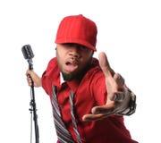 ubierający mężczyzna czerwieni śpiew Zdjęcia Stock