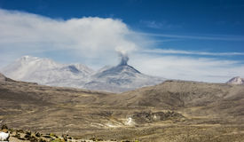 Ubinas, volcano erupting in Peru Royalty Free Stock Photos