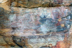 Ubirr crocodile rock art. Ancient crocodile rock art in Ubirr, Australia Royalty Free Stock Photos