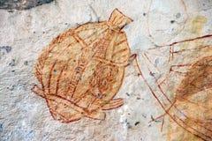 Ubirr Fish rock art royalty free stock photos