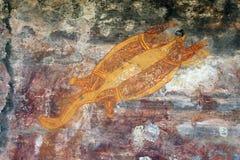 Ubirr turtle rock art. Ancient turtle rock art in Ubirr, Australia Stock Photos