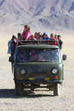 Ublic transport in Mongolia desert Stock Photo