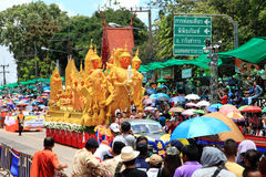 UBON RACHATANEE TAJLANDIA, LIPIEC, - 20: Tajlandzki świeczka festiwalu parada Obraz Stock