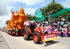 UBON RACHATANEE TAJLANDIA, LIPIEC, - 20: Tajlandzki świeczka festiwalu parada Obraz Royalty Free